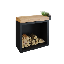 OFYR Butcher Block Storage 90 Black Teak Hout