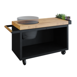 OFYR Kamado Table Black 135 PRO Teak Hout BGE