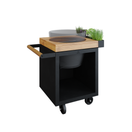 OFYR Kamado Table Black 65 PRO Teak Wood BGE